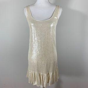 NWT DVF Orba Cocktail Dress White sequin Silk
